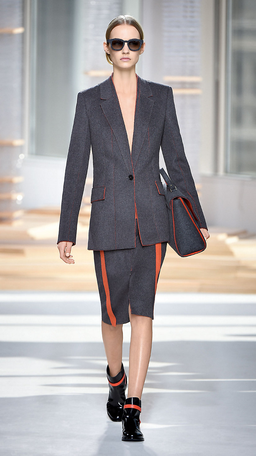 A Bauhaus-inspired look on the Fall/Winter 2015 runway at New York Fashion Week