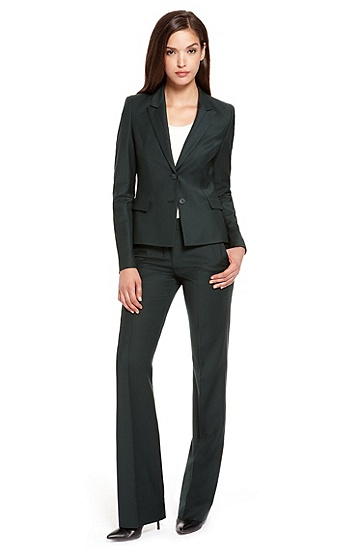 Stretch Virgin Wool-Blend Pant Suit,