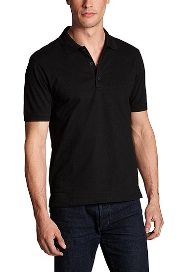 'Nono' | Slim Fit, Stretch Cotton Polo Shirt, Black