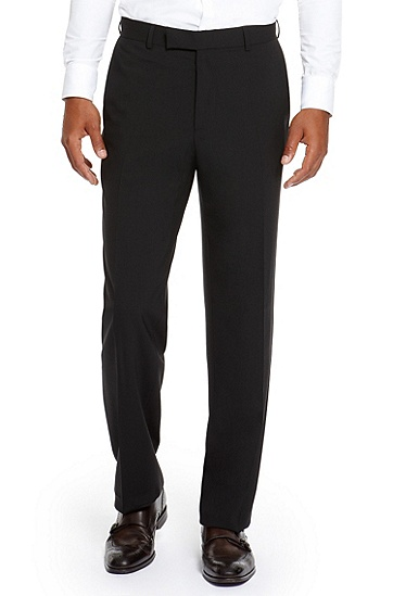 'Jeffrey US' | Comfort Fit, Stretch Virgin Wool Dress Pants, Black