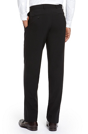 'Jeffrey US' | Comfort Fit, Stretch Virgin Wool Dress Pants, Black