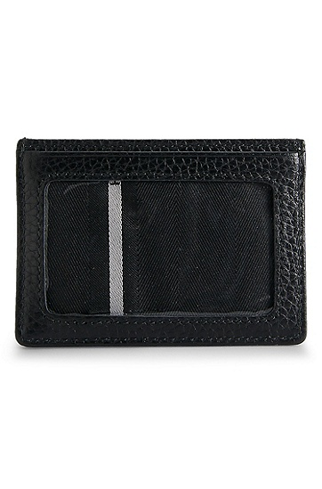 'Bradenton ' | Embossed Leather Card Case, Black