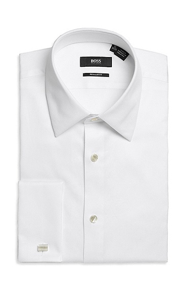'Emmery US' | Regular Fit, Modified Point Collar Cotton French Cuff Tuxedo Shirt, Open White