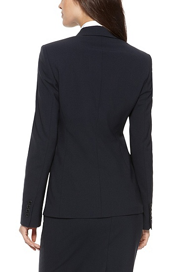 'Juicy' | Regular Fit, Stretch Virgin Wool Blazer, Dark Blue