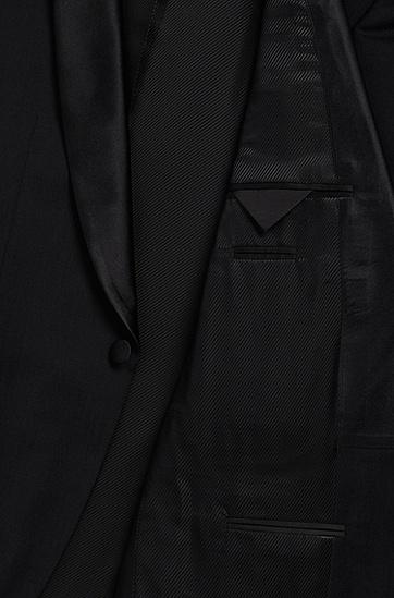 'Sky/Gala' | Regular Fit, Virgin Wool Shawl Collar Tuxedo, Black