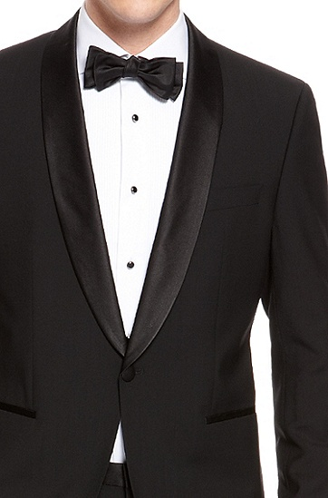 'Sky/Gala' | Regular Fit, Virgin Wool Shawl Collar Tuxedo, Black