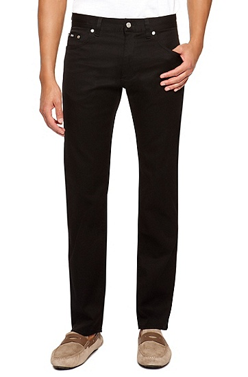 'Maine' | Regular Fit, Straight Leg Stretch Cotton Jeans, Black