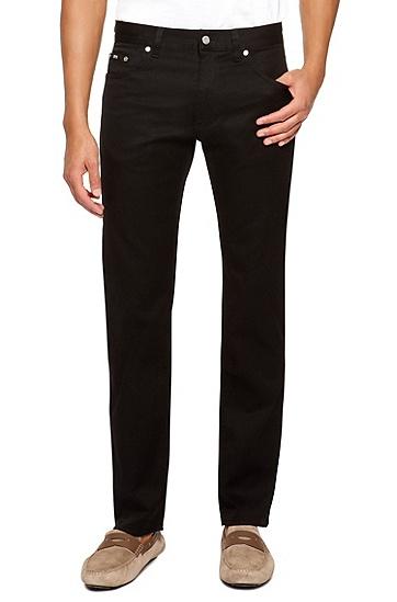 'Maine' | Regular Fit, Straight Leg Stretch Cotton Jeans, Black