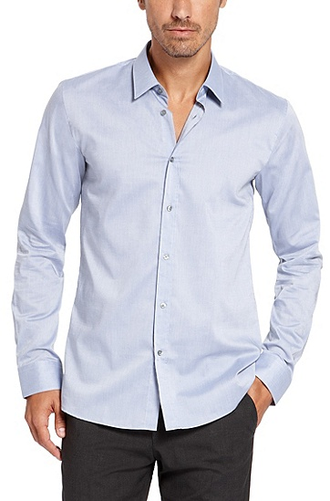 'Elisha' | Slim Fit, Cotton Button Down Shirt, Open Blue