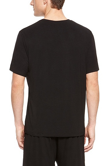 'T-Shirt' | Stretch Modal V-Neck T-Shirt, Black