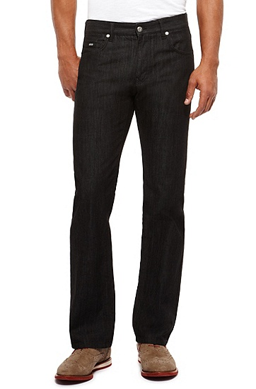 'Kansas' | Regular Fit, 12.5 oz Cotton Jeans, Black