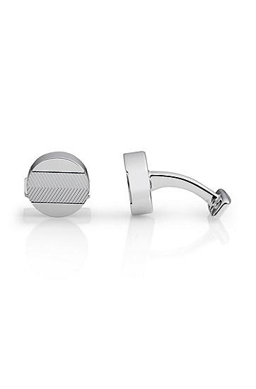 'Cian' | Textured Brass Circular Cufflinks, Silver