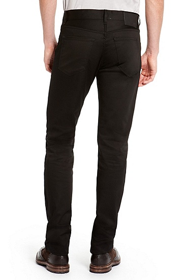 'Maine' | Regular Fit, Straight Leg Stretch Cotton 5 Pocket Pants, Black