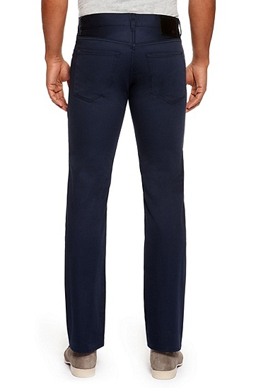 'Maine' | Regular Fit, Straight Leg Stretch Cotton 5 Pocket Pants, Open Blue