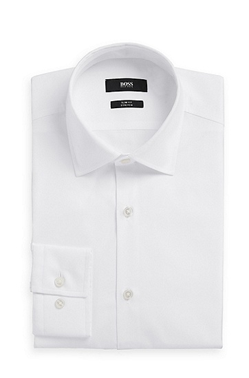 'Jenno' | Slim Fit, Modified Point Collar Easy Iron Italian Stretch-Cotton Dress Shirt, White