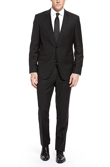 'The James/Sharp' | Regular Fit, Super 120 Italian Virgin Wool Suit, Black