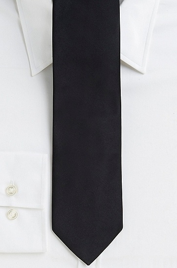 '7.5 cm Tie' | Regular, Italian Silk Solid, Black