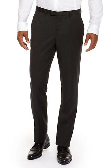 'Sharp' | Regular Fit, Virgin Wool Dress Pants, Charcoal