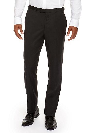 'Sharp' | Regular Fit, Virgin Wool Dress Pants, Charcoal