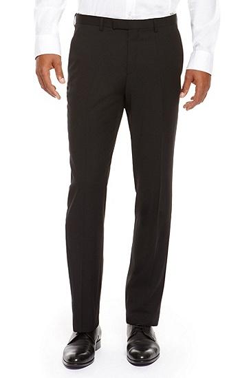 'Sharp' | Regular Fit, Virgin Wool Dress Pants, Black