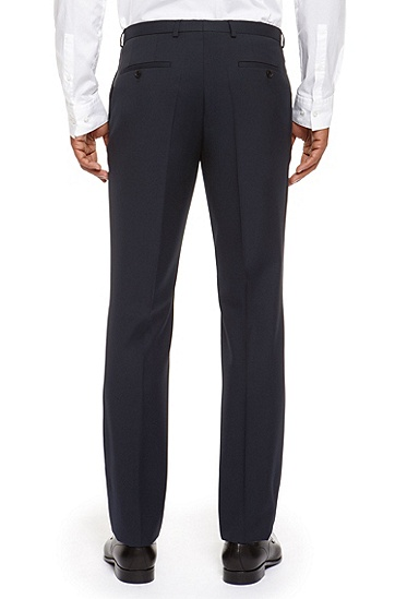 'Sharp' | Regular Fit, Virgin Wool Dress Pants, Dark Blue
