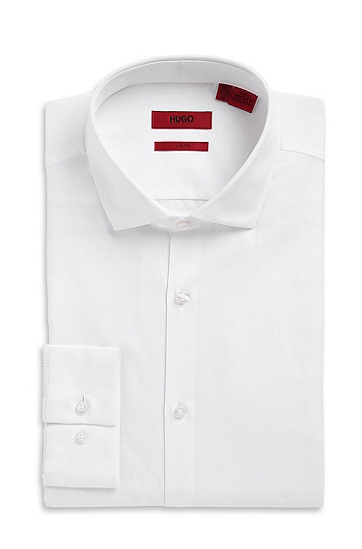 'EastonX' | Slim Fit, Modified Spread Collar Cotton Dress Shirt, Open White