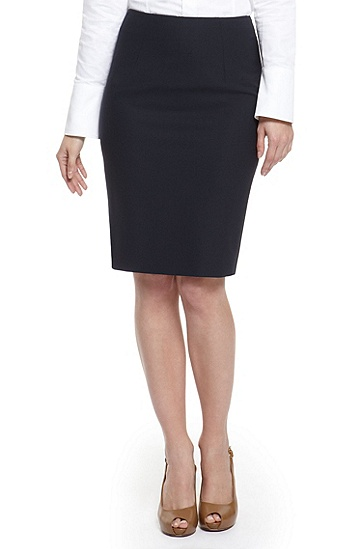 'Vilina' | Stretch Wool Pencil Skirt, Dark Blue