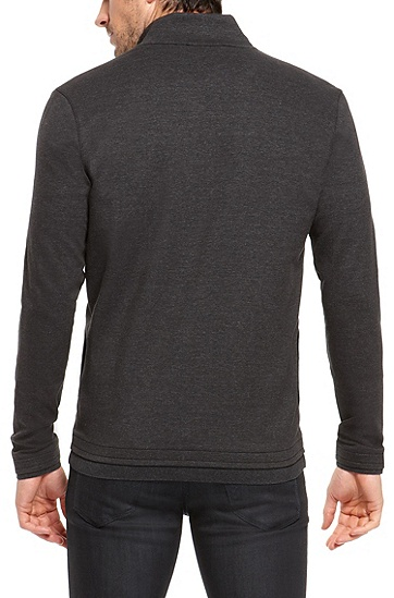 'Cannobio' | Stretch Cotton Stand Collar Sweatshirt, Charcoal