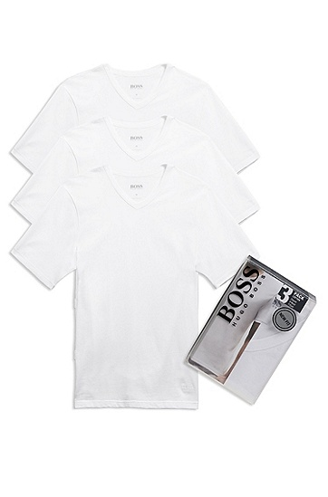 'Shirt' | Cotton V-Neck Undershirt, 3-Pack, White