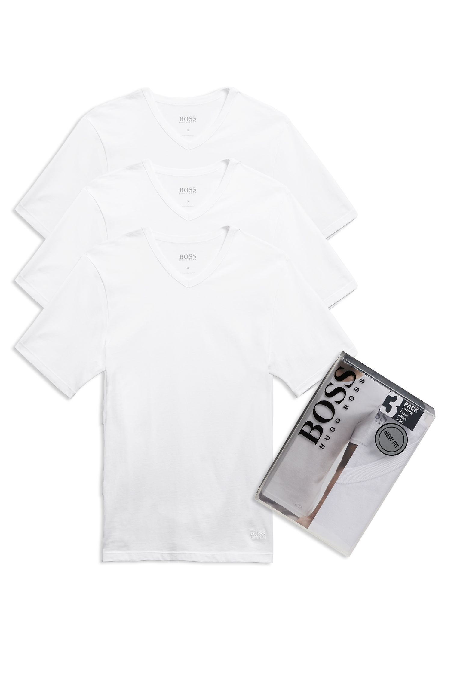 'Shirt' | Cotton V-Neck Undershirt, 3-Pack