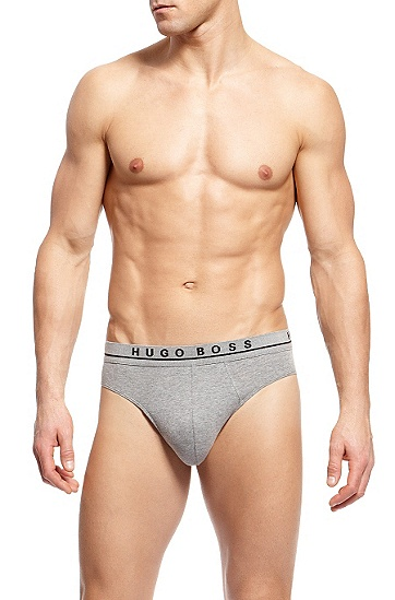 'Mini 3P BM' | Stretch Cotton Brief, 3-Pack, Open Grey