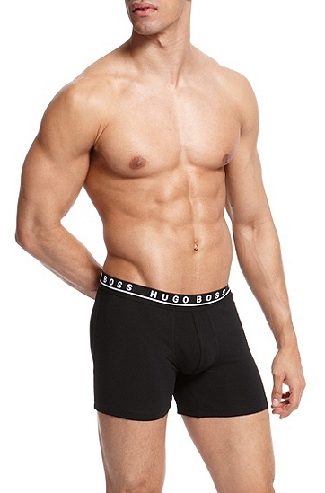 'Cyclist 3P BM' | Stretch Cotton Boxer Brief, 3-Pack, Black