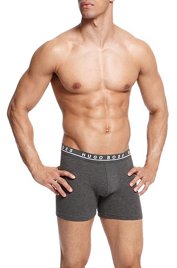 'Cyclist 3P BM' | Stretch Cotton Boxer Brief, 3-Pack, Open Grey