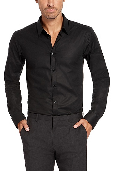'Elisha' | Slim Fit, Point Collar Stretch Cotton Dress Shirt, Black