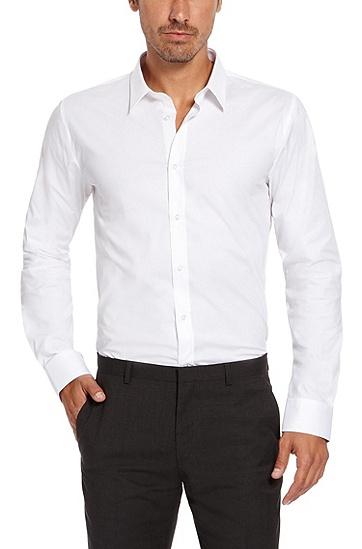 'Elisha' | Slim Fit, Point Collar Stretch Cotton Dress Shirt, Open White