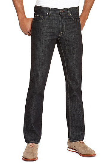 'Maine' | Regular Fit, Straight Leg Cotton Jeans, Dark Blue