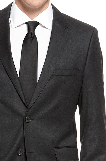 James/Sharp' | Regular Fit, Super 100 Virgin Wool Suit, Dark Grey