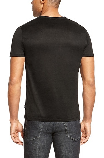 'Lecco' | Slim Fit, Mercerized Cotton T-Shirt, Black