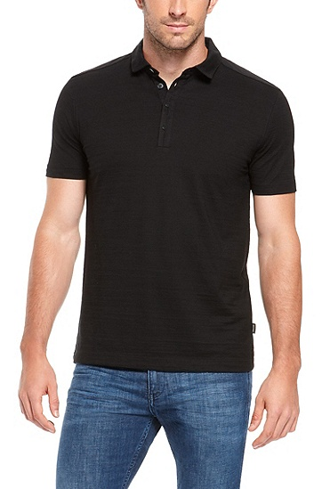 'Fontana' | Regular Fit, Cotton Layered Placket Polo Shirt, Black
