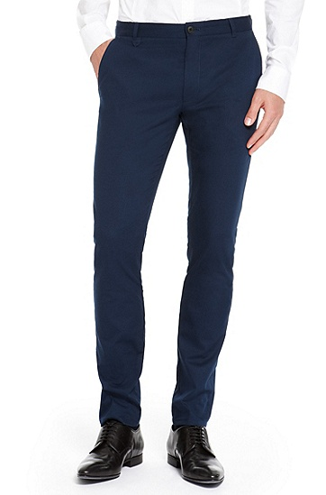 'Heldor' | Extra Slim Fit, Stretch Cotton Pants, Dark Blue