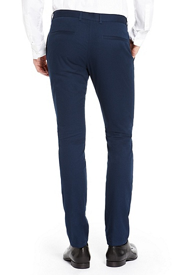 'Heldor' | Slim Fit, Stretch Cotton Pants, Dark Blue