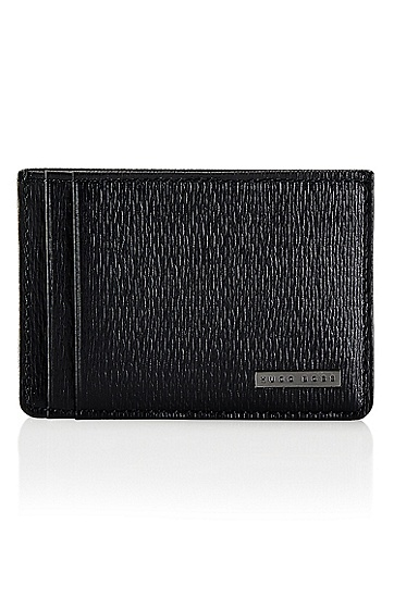 'Luber' | Textured Colored Leather Card Holder, Black