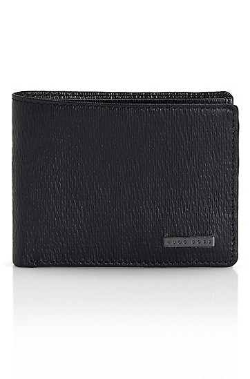 'Lillis' | Textured Colored Leather Wallet, Black