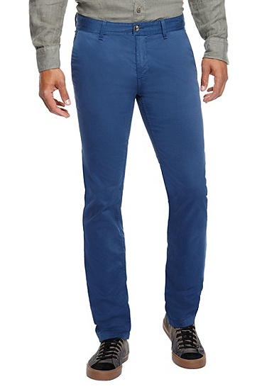 'Schino-Slim-D' | Slim Fit, Stretch Cotton Chinos, Blue