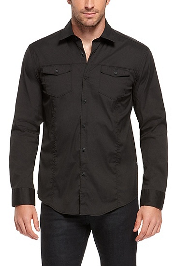 'Mirko' | Slim Fit, Stretch Cotton-Blend Button Down Shirt, Black