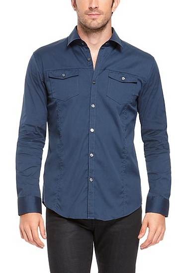 'Mirko' | Slim Fit, Stretch Cotton-Blend Button Down Shirt, Open Blue
