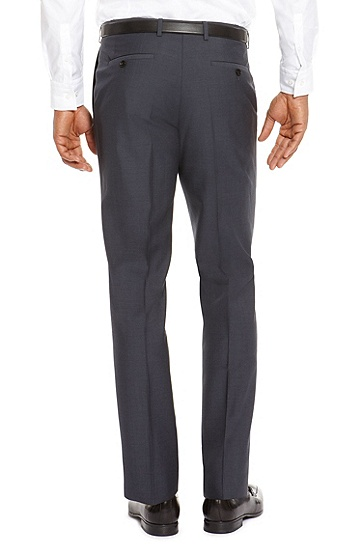 'Sharp' | Regular Fit, Virgin Wool Dress Pants, Blue