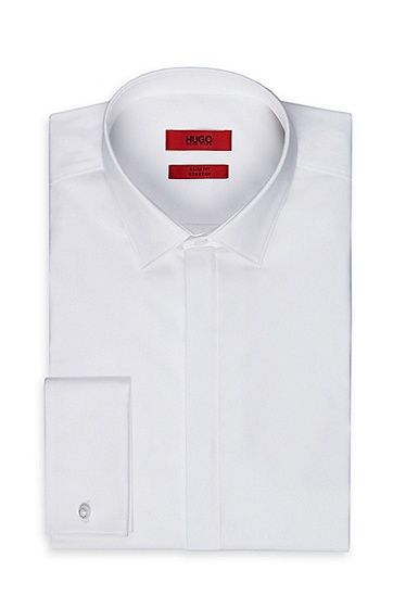 'EVENINGX' | Slim Fit, Point Collar Stretch Cotton French Cuff Dress Shirt, Open White