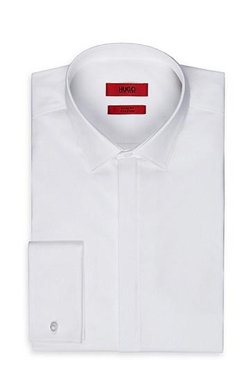 'EVENINGX' | Slim Fit, Point Collar Stretch Cotton French Cuff Dress Shirt, Open White