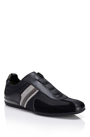 'Space On' | Leather, Textile Slip-On Sneakers, Black